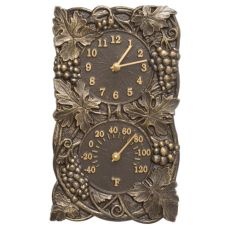 Grapevine Indoor Outdoor Wall Clock & Thermometer, French Bronze