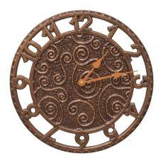 "Flourish 14"" Indoor Outdoor Wall Clock , Antique Copper"