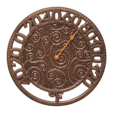"""Flourish 14"""" Indoor Outdoor Wall Thermometer, Antique Copper"""