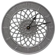 """Spiral 14"""" Indoor Outdoor Wall Clock, Pewter/Silver"""