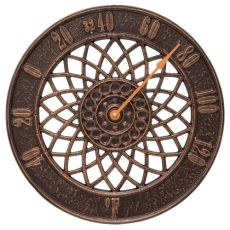 """Spiral 14"""" Indoor Outdoor Wall Thermometer, Antique Copper"""