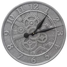 "Gear 16"" Indoor Outdoor Wall Clock, Pewter Silver"