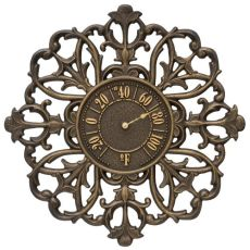 """Filigree Silhouette 21"""" Indoor Outdoor Wall Thermometer, Aged Bronze"""