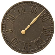 """Geneva 16"""" Indoor Outdoor Wall Thermometer, French Bronze"""