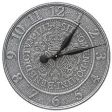 """Three Crowns In Coin 16"""" Indoor Outdoor Wall Clock, Pewter Silver"""
