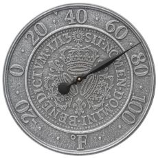 """Three Crowns In Coin 16"""" Indoor Outdoor Wall Thermometer, Pewter Silver"""