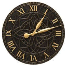 """Artisan 16"""" Indoor Outdoor Wall Clock , Black / Gold"""