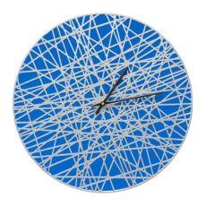 """Banded 16"""" Indoor Outdoor Wall Clock , Dark Blue / Silver"""