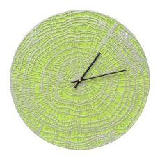 "End Grain 16"" Indoor Outdoor Wall Clock , Acid Green / Silver"