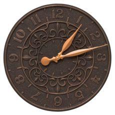 """Vine And Fleur 16"""" Indoor Outdoor Wall Clock , Oil Rubbed Bronze"""