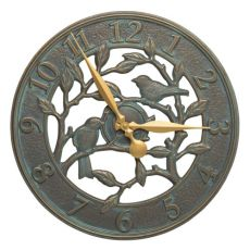 "Woodridge 16"" Indoor Outdoor Wall Bird Clock , Bronze Verdigris"