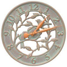 """Woodridge 16"""" Indoor Outdoor Wall Clock, Copper Verdigris"""