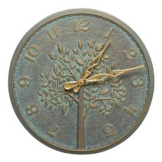 """Tree Of Life 16"""" Indoor Outdoor Wall Clock, Bronze Verdigris"""