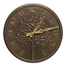 """Tree Of Life 16"""" Indoor Outdoor Wall Clock, French Bronze"""