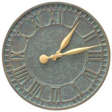 """Geneva 16"""" Indoor Outdoor Wall Clock, Bronze Verdigris"""