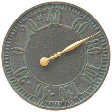 """Geneva 16"""" Indoor Outdoor Wall Thermometer, Bronze Verdigris"""