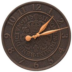 """Three Crowns In Coin 16"""" Personalized Indoor Outdoor Wall Clock, Oil Rubbed Bronze"""