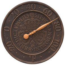 """Three Crowns In Coin 16"""" Personalized Indoor Outdoor Wall Thermometer, Oil Rubbed Bronze"""