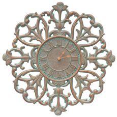 """Filigree Silhouette 21"""" Indoor Outdoor Wall Clock , Copper Verdigris"""