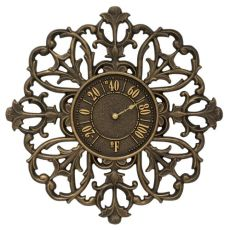 """Filigree Silhouette 21"""" Indoor Outdoor Wall Thermometer, French Bronze"""