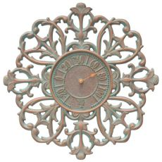 """Filigree Silhouette 21"""" Indoor Outdoor Wall Thermometer, Copper Verdigris"""
