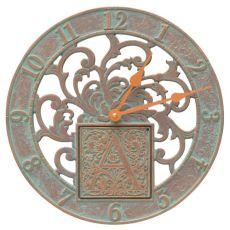 "Silhouette Monogram 12"" Personalized Indoor Outdoor Wall Clock, Copper Verdigris"