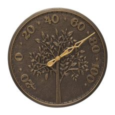"Tree Of Life 16"" Indoor Outdoor Wall Thermometer, French Bronze"