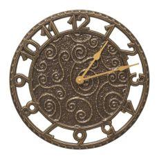 """Flourish 14"""" Indoor Outdoor Wall Clock , French Bronze"""