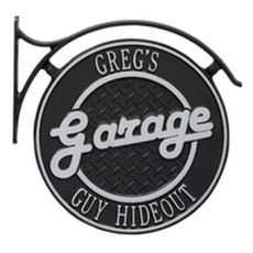 Hanging Garage Plaque With Bracket in Black/Silver