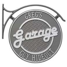 Hanging Garage Plaque With Bracket, Pewter/Silver, Pewter/Silver