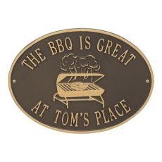 Personalized Grill Plaque, Bronze / Gold