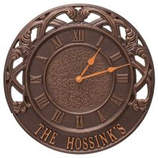 """Chateau 16"""" Personalized Indoor Outdoor Wall Clock, Antique Copper"""