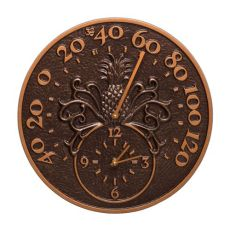 """Pineapple 14"""" Indoor Outdoor Wall Clock & Thermometer, Antique Copper"""