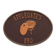 Personalized Charcoal Grill Plaque, Antique Copper