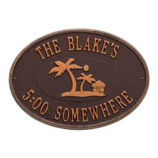 Personalized Island Time Palm Plaque, Antique Copper