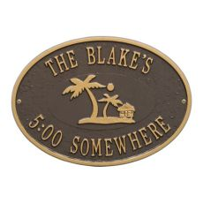 Personalized Island Time Palm Plaque, Bronze / Gold