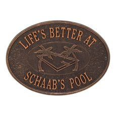 Personalized Swimming Pool Party Plaque, Antique Copper