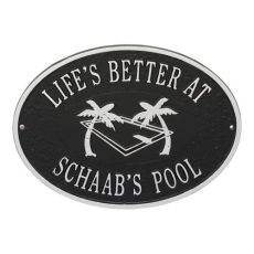 Personalized Swimming Pool Party Plaque, Black / Silver
