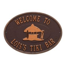 Personalized Tiki Hut Plaque, Antique Copper