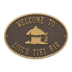 Personalized Tiki Hut Plaque, Bronze / Gold