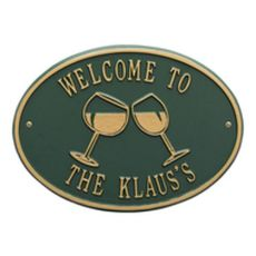 Personalized Wine Plaque, Green / Gold