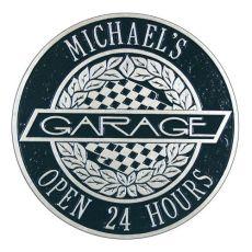 Victory Lane Garage Plaque, Black/Silver, Black/Silver