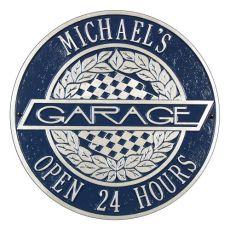 Victory Lane Garage Plaque, Dark Blue/Silver, Dark Blue/Silver