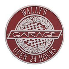 Victory Lane Garage Plaque, Red/Silver, Red/Silver