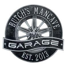 Racing Wheel Garage Plaque, Black/Silver, Black/Silver