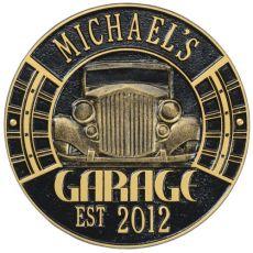 Vintage Car Garage Plaque, Black/Gold, Black/Gold