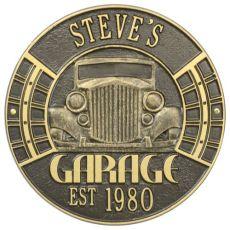 Vintage Car Garage Plaque, Bronze/Gold, Bronze/Gold