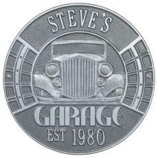 Vintage Car Garage Plaque, Pewter/Silver, Pewter/Silver
