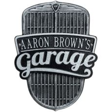 Car Grille Garage Plaque, Black/Silver, Black/Silver