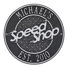 Speed Shop Plaque, Black/Silver, Black/Silver